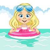 Vector nettes blondes Mädchen mit kühler blauer Sonnenbrille Lizenzfreie Stockbilder