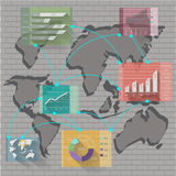 Vector network business with graph and map world Stock Photos