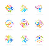 Vector network cube icons set. Abstract intellectual technology signs | EPS8 Royalty Free Stock Images