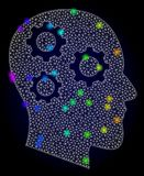 Vector Network Mesh Brain Gears with Spectrum Colored Glare Spots vector illustration