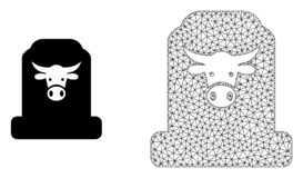 Vector Network Mesh Cow Cemetery and Flat Icon stock illustration