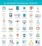 Vector Network technology color flat icon set. Elegant style design. Stock Photos