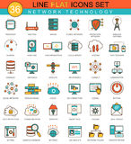 Vector Network technology flat line icon set. Modern elegant style design for web. Royalty Free Stock Images