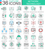 Vector Network technology modern color flat line outline icons for apps and web design. Stock Images