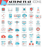Vector Network technology ultra modern outline artline flat line icons for web and apps. Stock Photography