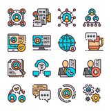 16 vector networking icons set. Vector illustration. 16 vector networking icons set. Network approach in marketing. Business relationship. Vector illustration Stock Photos