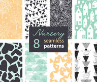 Vector Neutral Nursery Decor Repeat Seamless Patterns 8 Stock Images