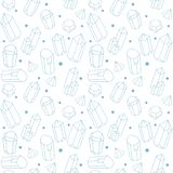 Vector neutral seamless pattern with blue crystals on white background. Vector seamless background with bule abstract crystals vector illustration