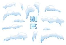 Vector a neve, calotes polares, bolas de neve, montes de neve ajustados Imagens de Stock Royalty Free