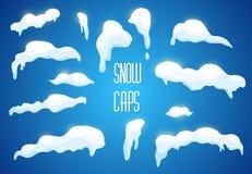Vector a neve, calotes polares, bolas de neve, montes de neve ajustados Fotografia de Stock