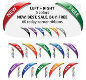 Vector new corner ribbon - new, best, buy, free. Royalty Free Stock Image