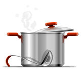 Vector new hot silver pan tableware isolated. On white background vector illustration