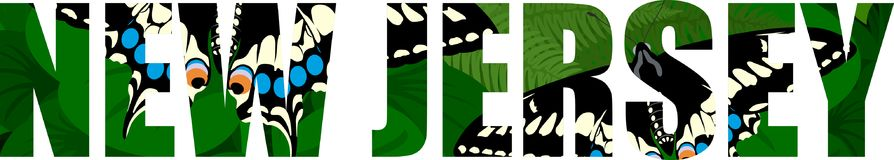 Vector New Jersey - American state word with black swallowtail butterfly and green meadow. Illustartion Stock Photo