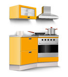 Vector new kitchen room furniture isolated. On white background Royalty Free Stock Images