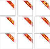 Vector New Multilanguage red corner ribbon Stock Image