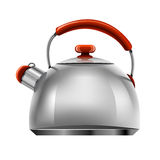 Vector new silver tea pot tableware isolated Royalty Free Stock Photo