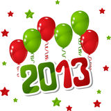 Vector New Year background with balloons and stars Royalty Free Stock Photos