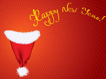 Vector New Year background for text.Red Santa hat royalty free stock image