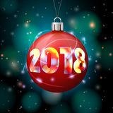 Vector 2018 New Year Banner with bright ball. Vector 2018 New Year Banner template with bright ball on background with blurred xmas lights Royalty Free Stock Photos