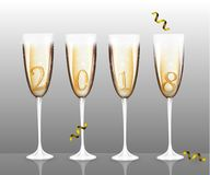 Vector New Year Banner with Four different  champagne glasses for Christmas design template. Vector illustration of Happy New Year card Stock Image