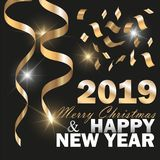 Vector 2019 New Year Black background with Gold Curling Stream. Festive design royalty free stock image
