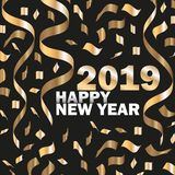 Vector 2019 New Year Black background with Gold Curling Stream. Festive design royalty free stock photos