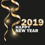 Vector 2019 New Year Black background with gold glitter confetti. Festive design. Vector 2019 New Year Black background with gold glitter confetti. Festive stock illustration