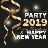 Vector 2019 New Year Black background with gold glitter confetti. Festive design royalty free stock images