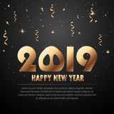 Vector 2019 New Year Black background with gold glitter confetti splatter texture. Festive premium design template for holiday gre. Eting card, invitation Stock Image