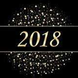 Vector 2018 New Year Black background with gold glitter confetti splatter texture.  Royalty Free Stock Photos
