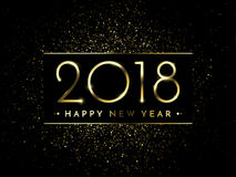 Vector 2018 New Year Black background with gold glitter confetti splatter texture. Festive premium design template for holiday greeting card, invitation Stock Image