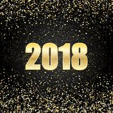 Vector 2018 New Year Black background with gold glitter confetti splatter texture. Royalty Free Stock Photo