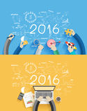Vector 2016 new year business success working on laptop computer. 2016 new year business success working on laptop computer, Flat design concepts for drawing Royalty Free Stock Image