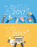 Vector 2017 new year business success working. 2017 new year business success working on laptop computer, Flat design concepts for drawing analysis and planning Royalty Free Stock Photo