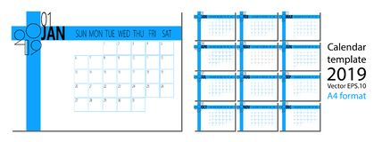 Vector of 2019 new year calendar in clean minimal table simple style and blue color A4 size royalty free illustration