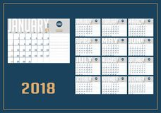 Vector of 2018 new year calendar royalty free illustration