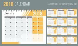 Vector of 2018 new year calendar in clean minimal table simple style with orange color. Holiday event planner Stock Photos
