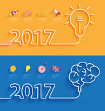 Vector new year 2017 calendar cover. Happy new year 2017 calendar cover, Creative brainstorm concept business idea, innovation and solution, Creative design Stock Images
