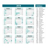 Vector of 2018 new year calendar and holidays. style blue color, Holiday event planner, Week Starts Sunday. Art Stock Images