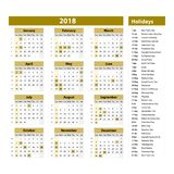 Vector of 2018 new year calendar and holidays. style brown color, Holiday event planner, Week Starts Sunday. Royalty Free Stock Images