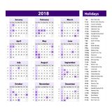 Vector of 2018 new year calendar and holidays. style violet color, Holiday event planner, Week Starts Sunday. Art Royalty Free Stock Image