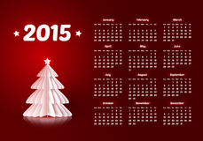 Vector 2015 new year calendar with paper Christmas. Vector 2015 new year calendar with realistic paper Christmas trees Royalty Free Stock Image