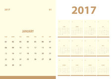 Vector, 2017 new year calendar with simple clean style with beig. E color background, 12 month set, week start at Sunday, fit in A5 paper size Royalty Free Stock Image