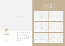 Vector, 2017 new year calendar with simple modern clean style ,. 12 month set, week start at Sunday, Template to adding your photo,Monthly in A5 paper size royalty free illustration