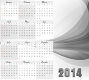 Vector 2014 new year calendar for wave Royalty Free Stock Photography