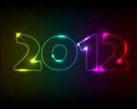 Vector New Year card 2012. Rainbow neon numbers Royalty Free Illustration