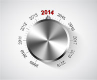 Vector 2014 New Year card. With chrome knob vector illustration