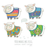Vector new year card with cute sheep in knitted sweaters. Vector new year card with cute four sheep in knitted sweaters stock illustration