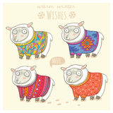 Vector new year card with cute sheep in knitted sweaters Royalty Free Stock Photos