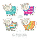 Vector new year card with cute sheep in knitted sweaters. Vector new year card with cute four sheep in knitted sweaters royalty free illustration